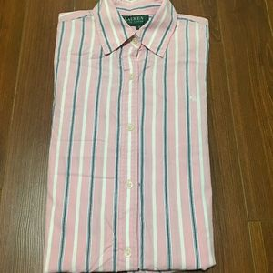 Pink striped Ralph Lauren long sleeve dress shirt